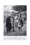 Domesday Commissioners at Work Ad1086, 1920's Giclee Print by Ernest Prater