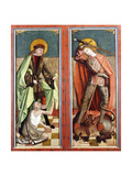 Saint Martin and the Beggar; and Saint George and the Dragon - the Wings of an Altarpiece Giclee Print by Johann Koerbecke