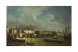 A View of Old London Bridge with Barges on the Thames Giclee Print by Samuel Scott