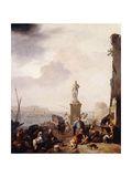A Mediterranean Seaport with the Monument of Grand-Duke Ferdanindo I of Tuscany at Leghorn Giclee Print by Johannes Lingelbach