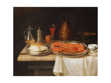 A Still-Life; with a Lobster and Bread on Salvers, a Decanter of Wine and Other Items on a Partly… Giclee Print by Charles Collins