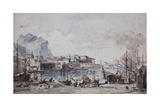 A View of the Port of Palermo, 1777 Giclee Print by Louis Jean Desprez