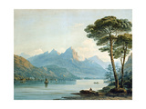 Swiss Mountains and Lake, 1824 Giclée-Druck von John Varley