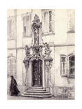 A Man Descending the Stairway of a Building Decorated with a Baroque Portal, 1884 Giclee Print by Adolph Friedrich Erdmann von Menzel