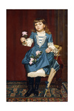 Daisy Mccomb Holding a Pink Rose, 1888 Giclee Print by John George Brown