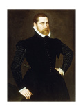 Portrait of a Gentleman, Three-Quarter Length, Wearing a Black Costume with White Ruff, 1564 Giclee Print by Adriaen Thomasz Key