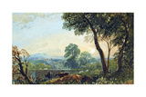 Landscape with Bridge and Castle, C.1820-50 Giclée-Druck von John Varley