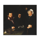 Portrait of a Essai Master and His Wife, Half-Length, C.1561-7 Giclee Print by Nicolas Neufchatel