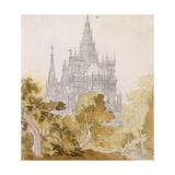 A Gothic Cathederal Near Bauman; Eine Gotische Kathedrale Hinter Baumen, 1814-15 Giclee Print by Karl Friedrich Schinkel