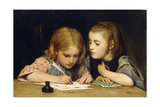 The Lesson; Der Schreibunterricht, 1865 Giclee Print by Albert Anker