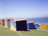 Beach Huts Print by Carlos Dominguez