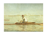John Biglin in a Single Scull, 1873 Giclee Print by Thomas Cowperthwait Eakins