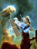 Artwork of Hubble Space Telescope And Eagle Nebula Fotodruck von David Ducros