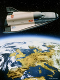 Artwork of Hermes Space Shuttle Orbiting Europe Photographic Print by David Ducros