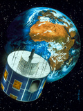 Artwork of a Meteosat Satellite Orbiting the Earth Photographic Print by David Ducros