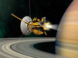 Cassini-Huygens Probe At Saturn, Artwork Photographic Print by David Ducros