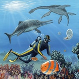 Diver And Prehistoric Life, Artwork Premium Photographic Print by Richard Bizley