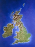 Relief Map of the United Kingdom And Eire Prints by Julian Baum
