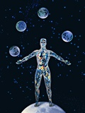 Cosmic Man Juggling Worlds, Artwork Photographic Print by Biddle Biddle