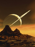 Computer Artwork of Titan's Surface And Saturn Photographic Print by Julian Baum