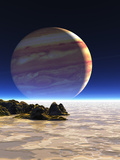 Artwork of Europa's Surface with Jupiter In Sky Photographic Print by Julian Baum