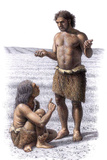 Neanderthal Woman And Man Print by Mauricio Anton