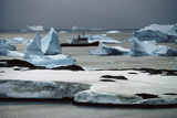 Ship RRS Bransfield Among Icebergs Photographic Print by Doug Allan
