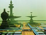 Artwork of An Alien City on a Circuit Board Photographic Print by Julian Baum