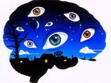 Artwork of Brain Depicting Insomnia, Or Dreaming Print by John Bavosi