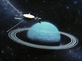 Artwork Showing Voyager 2's Encounter with Uranus Photographic Print by Julian Baum