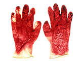 Blood-stained Surgical Gloves Photographic Print by Kevin Curtis
