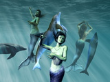 Mermaids with Dolphins Posters by Christian Darkin