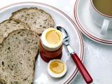 View of a Healthy Breakfast of Egg, Bread And Tea Kunstdruck von Erika Craddock
