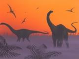 Apatosaur Dinosaurs, Artwork Photographic Print by Richard Bizley