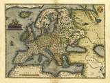 Ortelius's Map of Europe, 1570 Posters by Library of Congress