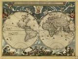 Carte du monde du 17ème siècle Papier Photo par Library of Congress