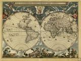 17th Century World Map Posters by Library of Congress