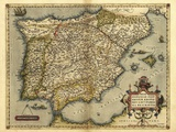 Ortelius's Map of Iberian Peninsula, 1570 Print by Library of Congress
