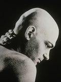 Bald Man Holding His Neck Suffering From Pain Photographic Print by  Cristina