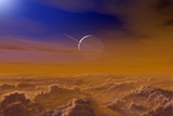 Saturn From the Surface of Titan Photographic Print by Chris Butler
