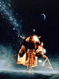 Artwork of Apollo 11 Lunar Module on the Moon Photographic Print by Julian Baum