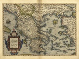 Ortelius's Map of Greece, 1570 Fotografisk tryk af Library of Congress