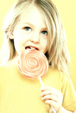 Girl Licking a Lollipop Prints by Kevin Curtis