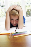 Boy with Pens And Exercise Book Photographic Print by Ian Boddy