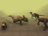 Protoceratops Dinosaur Defending Young Posters by Christian Darkin