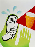 Artwork of An Alcoholic Imagining a Glass of Beer Poster by Paul Brown