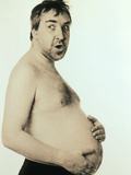 Obese Man Holding His Bare Belly Prints by  Cristina