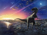 Tyrannosaurus Rex Fleeing From An Asteroid Strike Photographic Print by Chris Butler