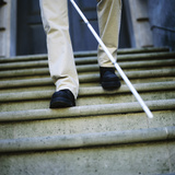 Blind Man Descending Stairs Premium Photographic Print by  Cristina