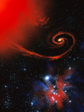 Artwork: Binary Star System Containing Black Hole Photographic Print by Julian Baum